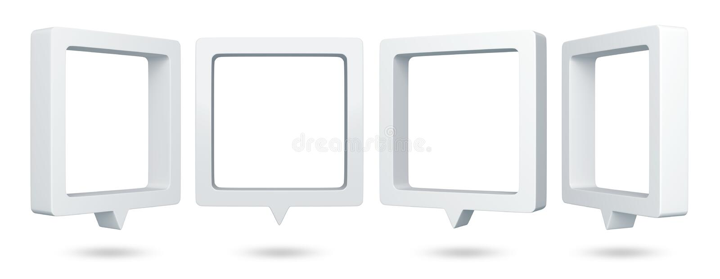 3D vierkante bellentoespraak vector illustratie