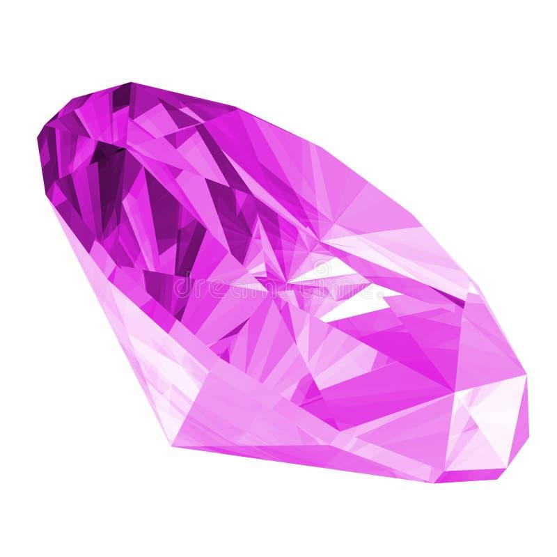3d Violetkleurige Geïsoleerdee Gem royalty-vrije illustratie