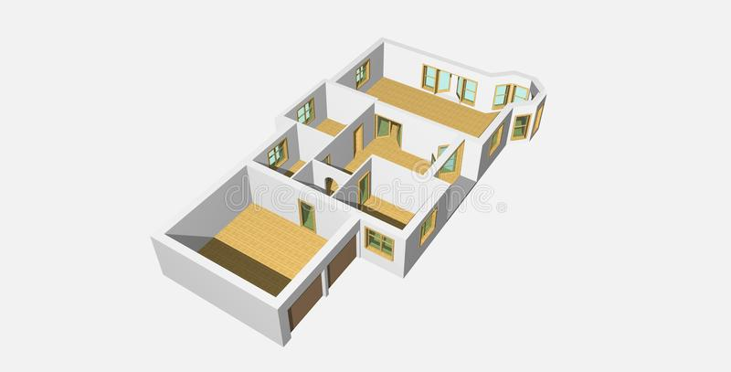 3D Visualisation Of House 2 Royalty Free Stock Photography
