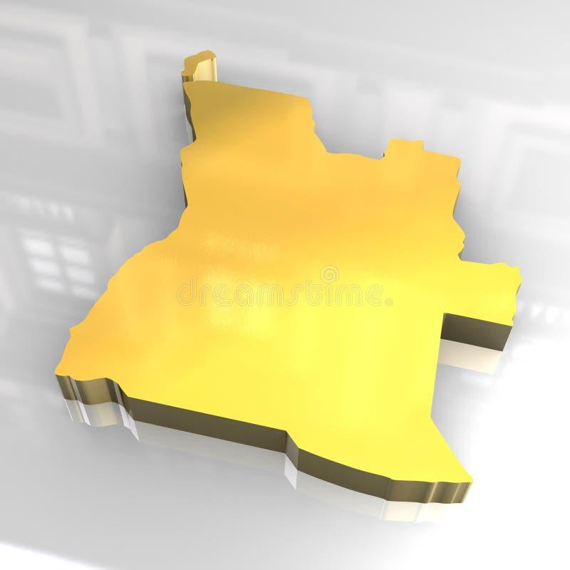 3d vlag gouden van Angola vector illustratie
