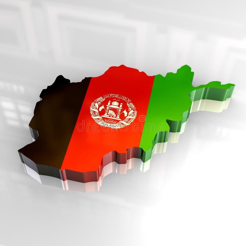 3d vlagkaart van Afghanistan royalty-vrije illustratie