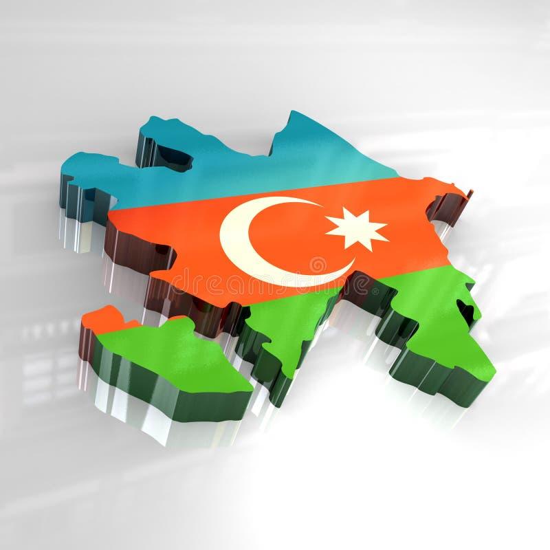 3d vlagkaart van azerbaijan stock illustratie