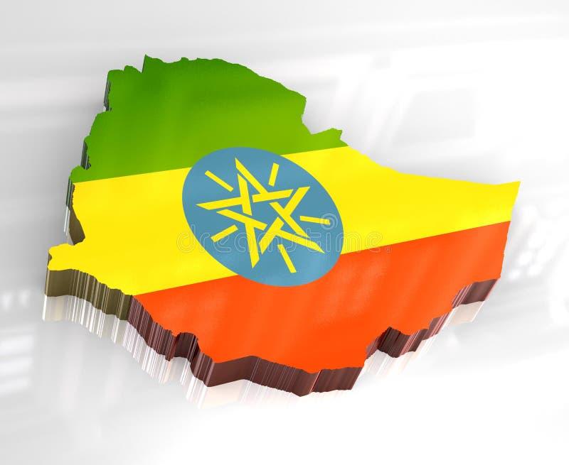 3d vlagkaart van Ethiopië royalty-vrije illustratie