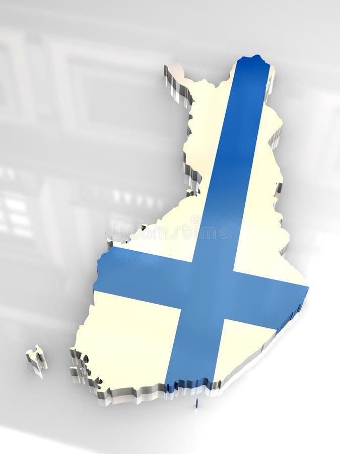 3d vlagkaart van Finland vector illustratie
