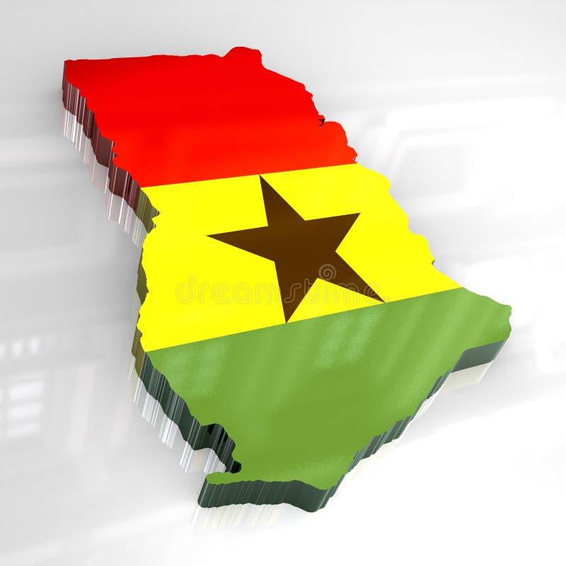 3d vlagkaart van Ghana stock illustratie