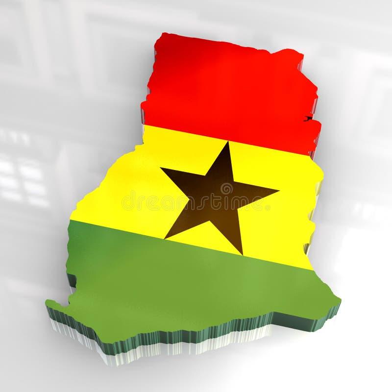 3d vlagkaart van Ghana royalty-vrije illustratie