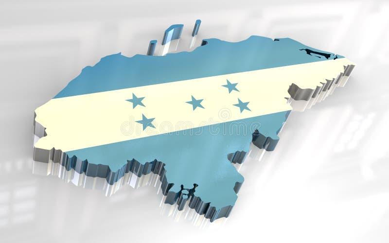 3d vlagkaart van Honduras vector illustratie