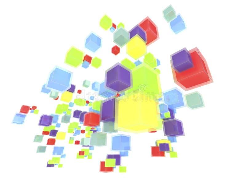 3d vliegende licht-doosachtergrond stock fotografie