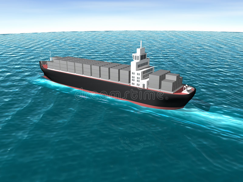 3D Vrachtschip in Oceaan stock illustratie