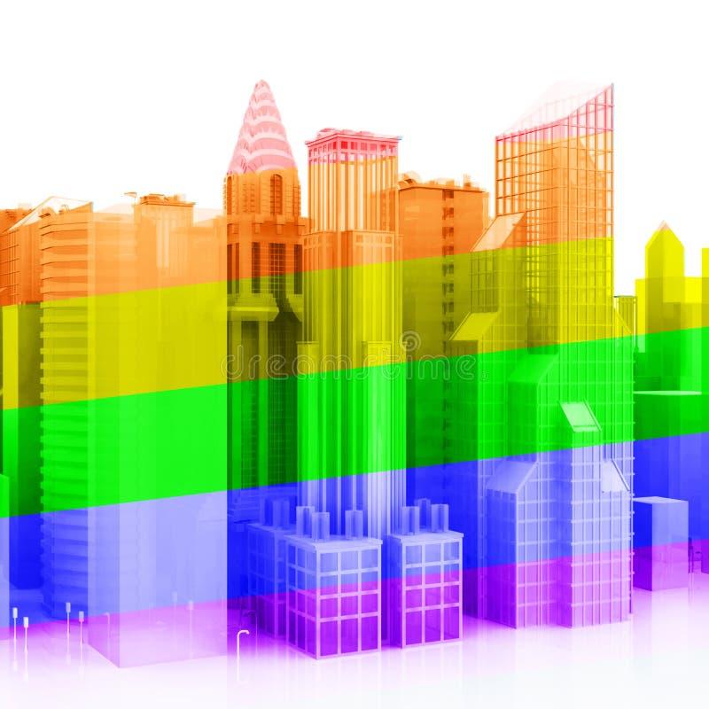 3D Vrolijke Stad royalty-vrije illustratie