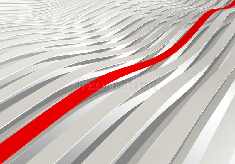 3d wave stripes with one red