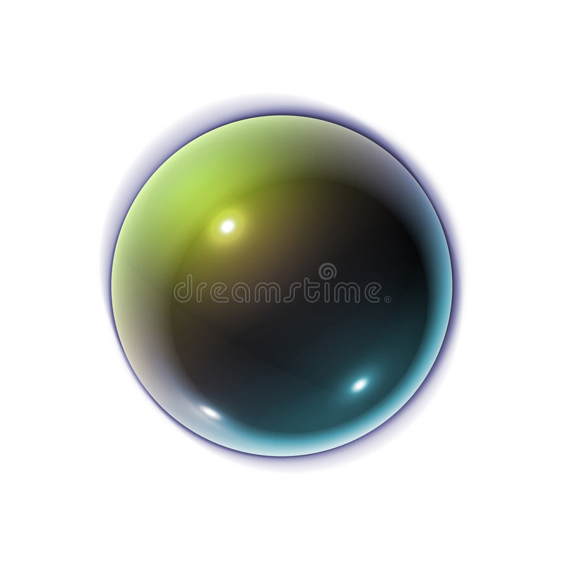 3D Web Button. 3D Sphere With Multiple Colors, 3 Light Reflections and Projected Shadow royalty free illustration