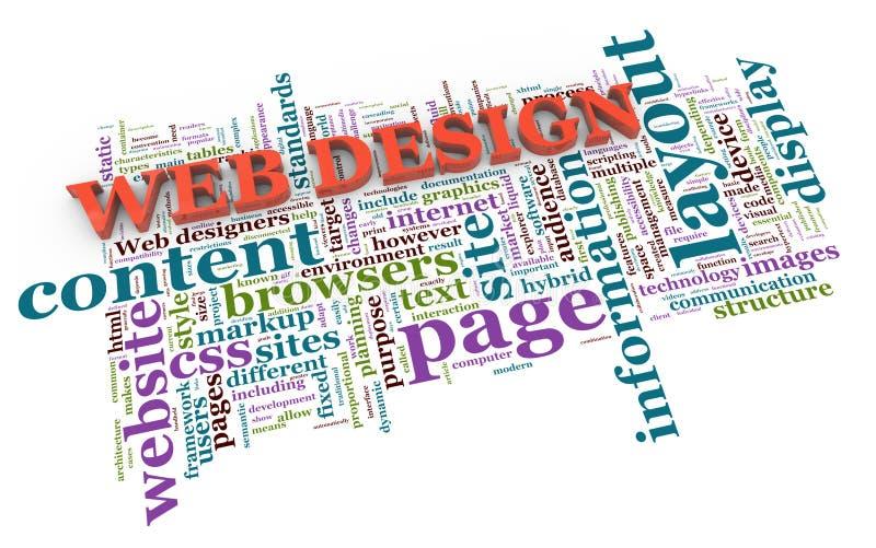 3d web design tags. 3d render of web design wordcloud tags royalty free illustration