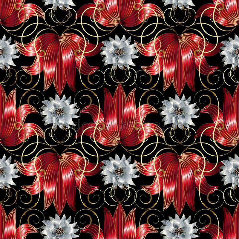 Free 3d White And Red Flowers Seamless Pattern. Vector Floral Black B Royalty Free Stock Image - 112877816