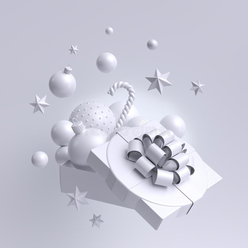 Free 3d White Christmas Background, Open Gift Box Decorated With Festive Ornaments. Snow Balls, Candy Cane, Stars. Holiday Clip Art Royalty Free Stock Photography - 163485127