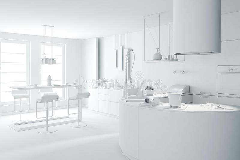 3d white clay render of a modern kitchen stock illustration