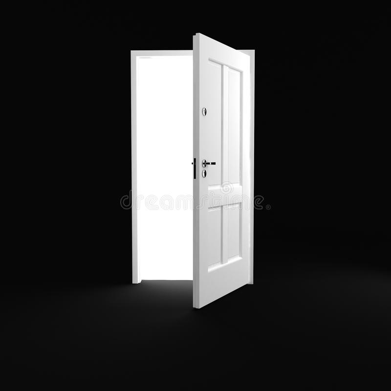 3d white door on black background