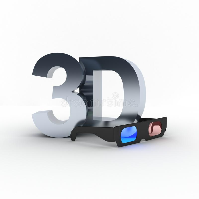 3d white glass for watching 3d stock photos