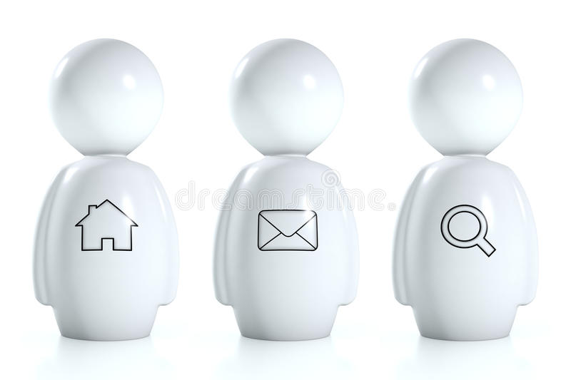 Download 3d White Humans With Web Symbols Stock Illustration - Image: 22855763