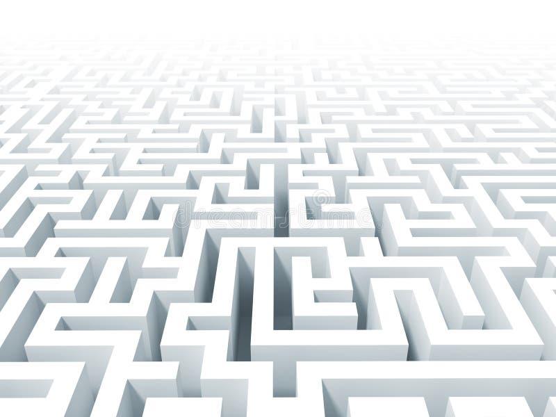 3d white labyrinth background royalty free illustration