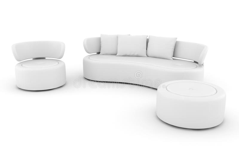 Download 3d White Leather Couch Isolated On White Stock Illustration - Image: 16183021