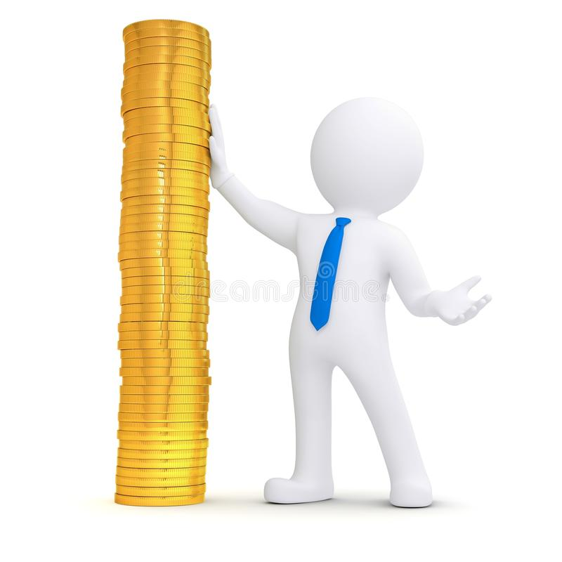 Download 3d White Man Next To A Pile Of Gold Coins Stock Illustration - Illustration: 28504539
