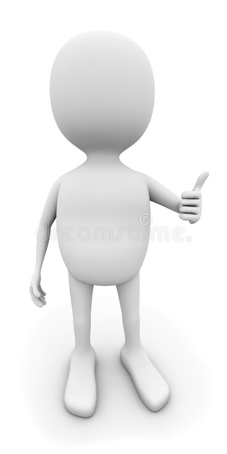 3D white man with thumb up. On white background royalty free illustration