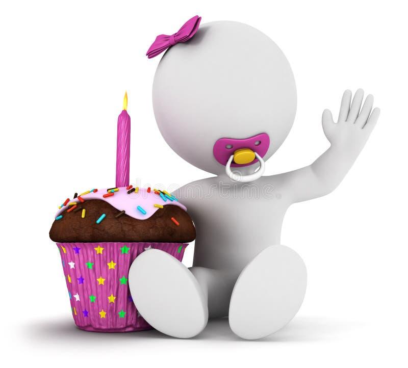 3d white people baby girl birthday stock illustration