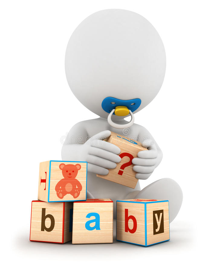 3d white people baby playing with blocks royalty free illustration