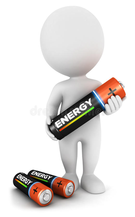 3d white people with a battery stock illustration