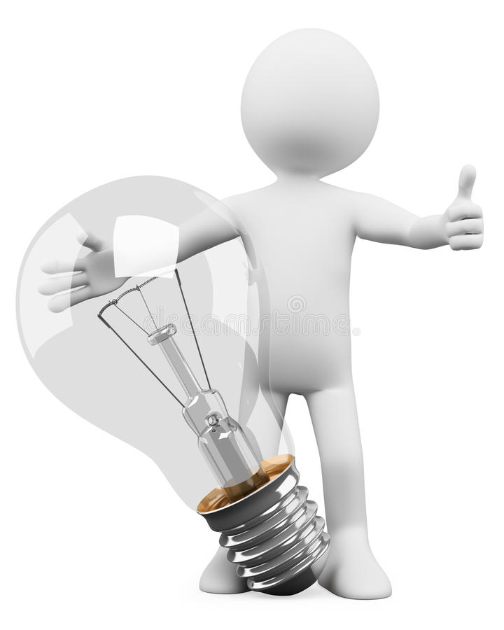 Download 3D White People. Bulb Royalty Free Stock Image - Image: 25544396