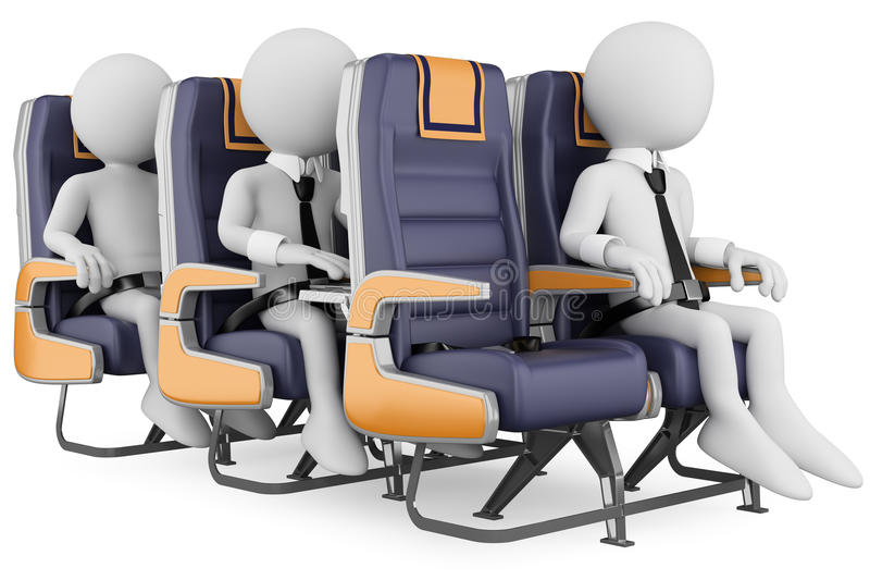 3D white people. Business people on a air travel stock illustration