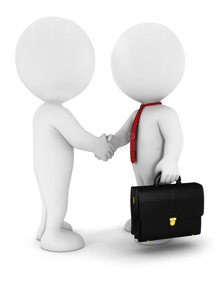 Free 3d White People Businessmen Strike An Agreement,we Royalty Free Stock Image - 24895786