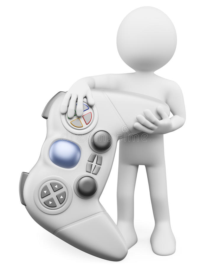 3D white people. Child with a gamepad. 3d white person with a huge wireless controller. 3d image. White background vector illustration