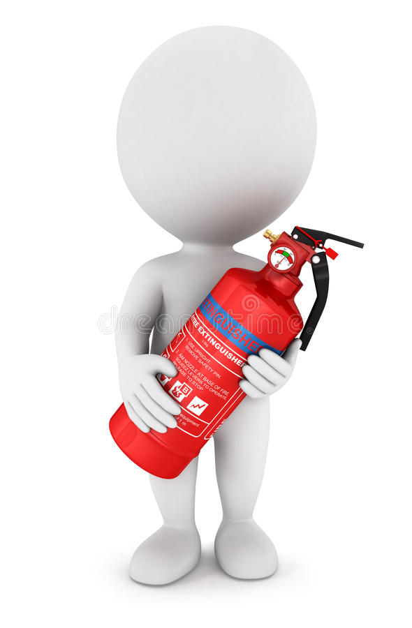 3d white people with an extinguisher royalty free illustration