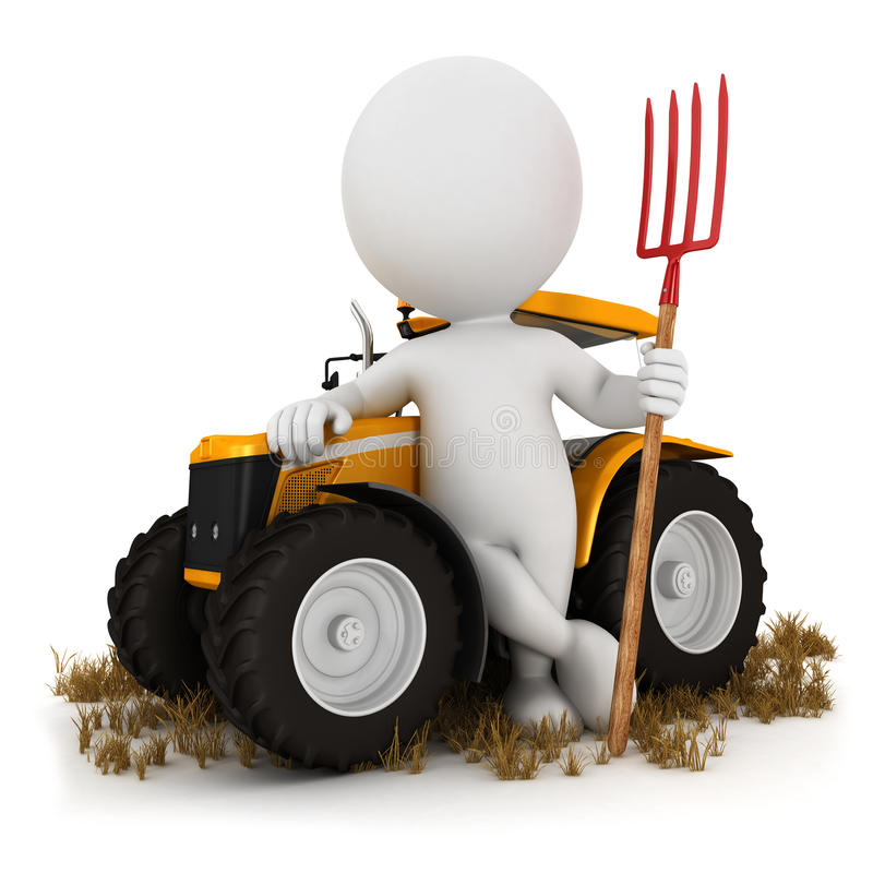 3d white people farmer. With a tractor and a pitchfork, white background, 3d image stock illustration
