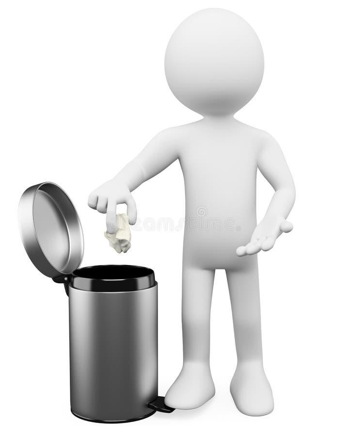 3D white people. Garbage basket vector illustration