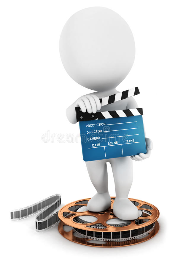 3d white people holding a movie clapper. On a film reel, white background, 3d image royalty free illustration