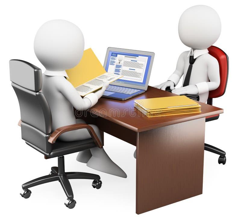 3D white people. Job interview stock illustration