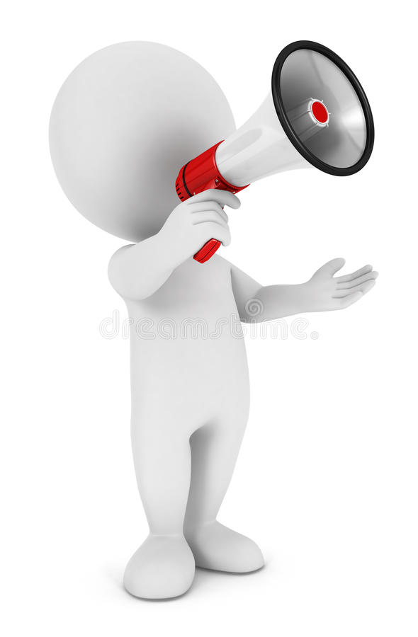 3d white people megaphone vector illustration