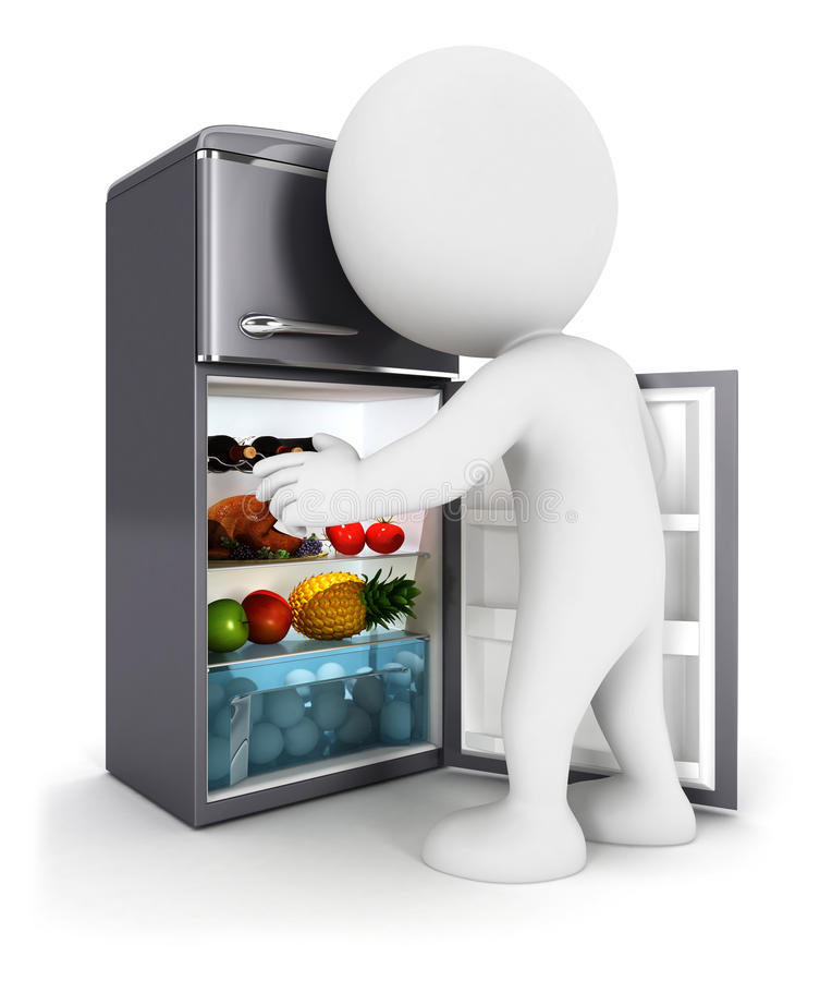 3d white people opens a fridge door royalty free illustration