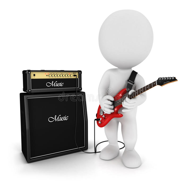 3d White People Playing Electric Guitar Royalty Free Stock Images