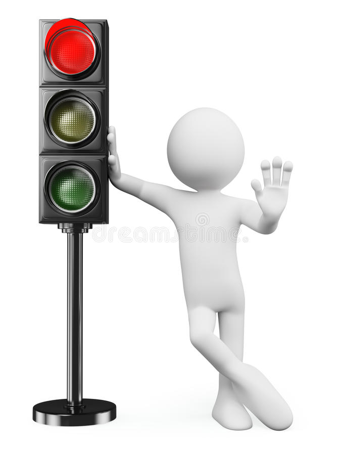 Free 3D White People. Red Traffic Light Royalty Free Stock Images - 33961669