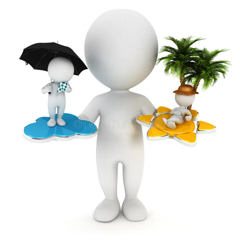 Download 3d White People Sun Or Rain Stock Illustration - Image: 26867517