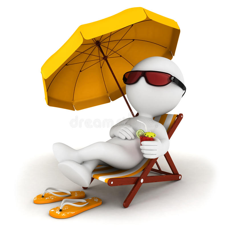 3d white people in vacation. Lying on a beach chair with cocktail and umbrella, isolated white background, 3d image royalty free illustration