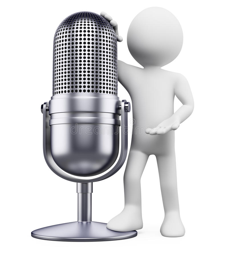 Download 3D White People. Vintage Microphone Royalty Free Stock Image - Image: 25224576
