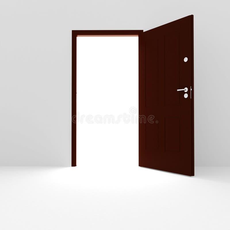 3d white room and open door