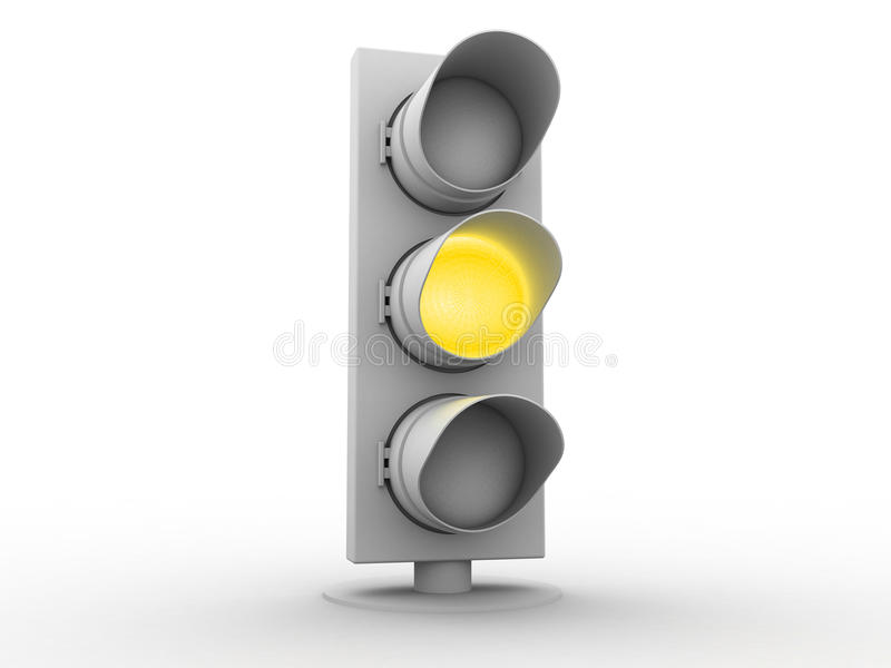 3d White Traffic Light With A Yellow Light Stock Photography