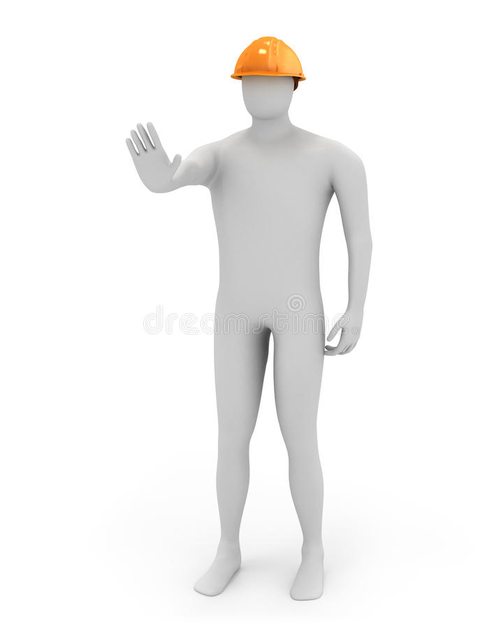 3d white worker says stop stock illustration