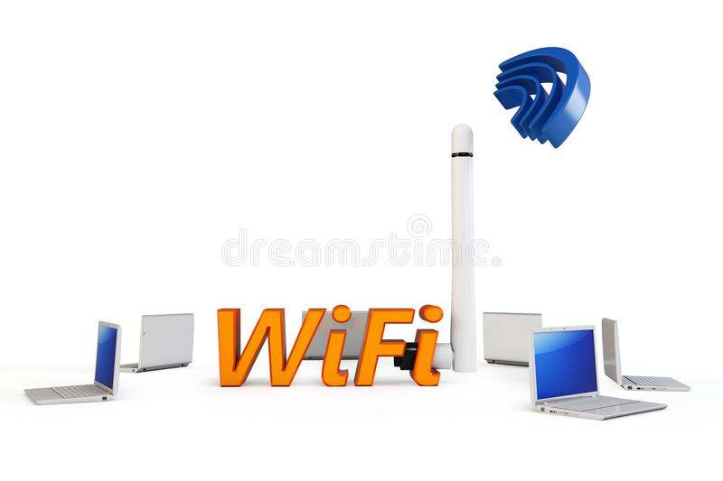 Download 3d Wifi Hotspot With Laptops Stock Illustration - Illustration of pattern, isolated: 20061958
